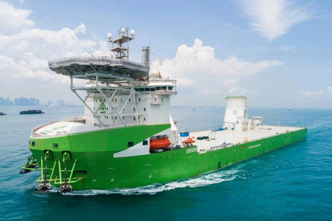 DEME's LNG-fueled offshore installation vessel heads for Europe