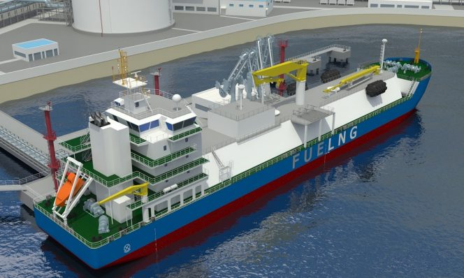K-Line inks LNG bunkering vessel management deal with FueLNG