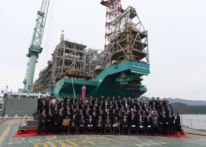 PFLNG DUA Naming ceremony in South Korea - Image source: Petronas Twitter account