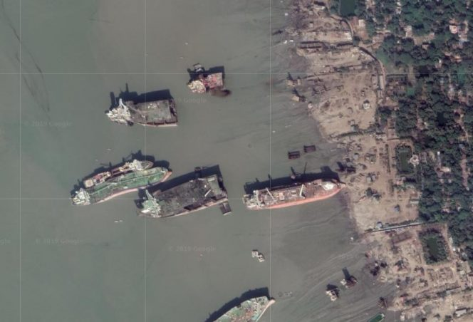 A Google map showing what appears to be the North Sea Producer FPSO beached at the shipbreaking yard in Bangladesh