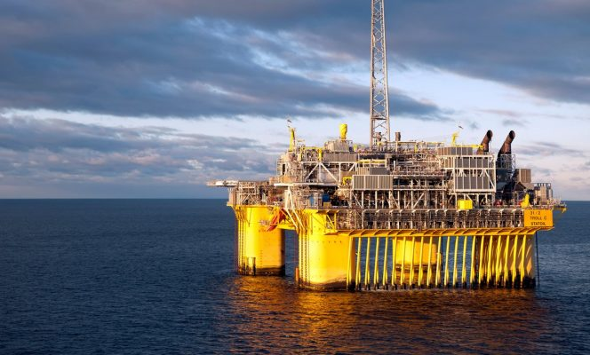 The Troll C platform in the North Sea.