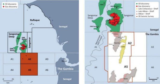 Figure 1. Location of The Gambia licenses / Figure 2. A2 & A5 prospects and leads