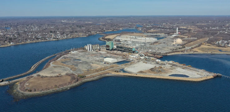 An aerial photo of Brayton Point site under construction