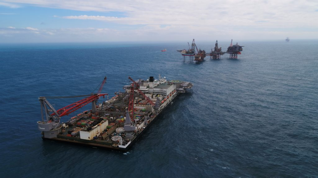 Pioneering Spirit in the Valhall field; Source: Allseas