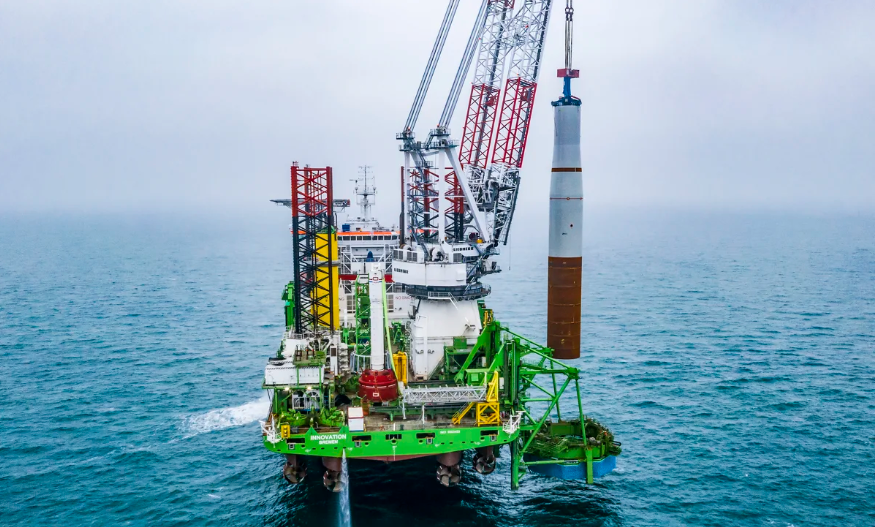 A photo of the Innovation vessel installing a monopile at the Borssele offshore site