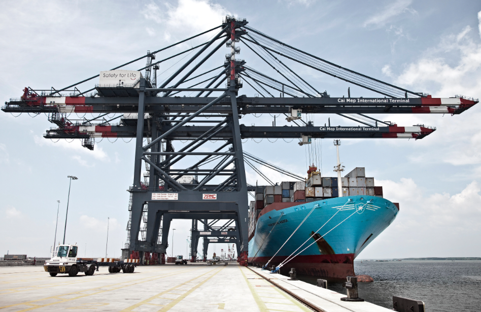 Maersk vessel at a terminal