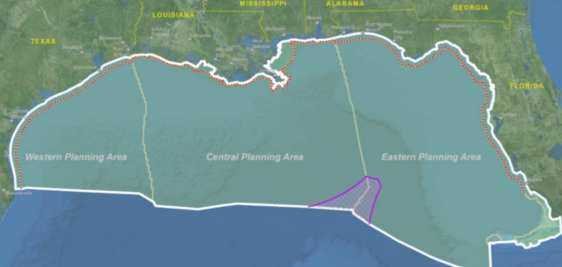 A map outlining the studies areas in Gulf of Mexico
