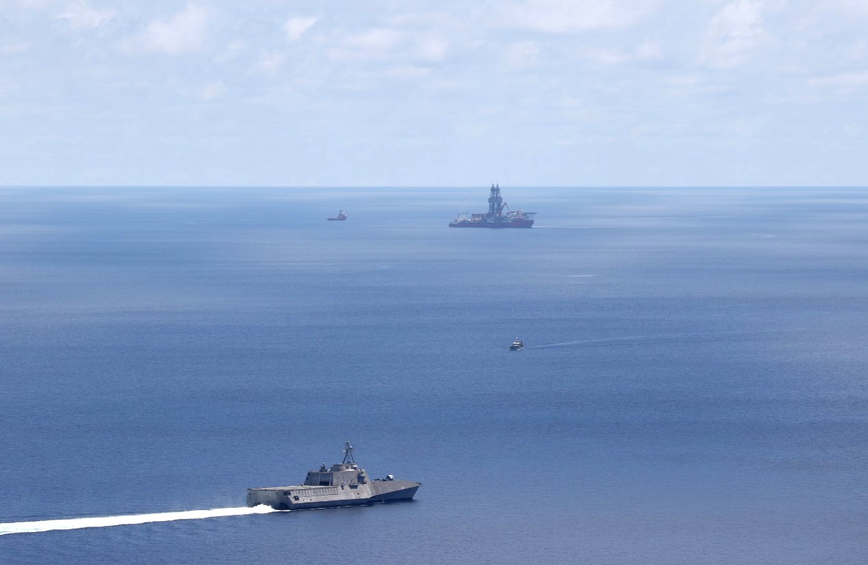 USS Montgomery and West Capella in the background; Photo by: Naval Aircrewmen Helicopter 3rd Class Christopher Fred