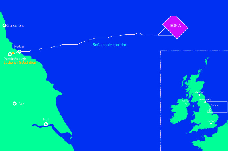 An image mapping the Sofia offshore wind project