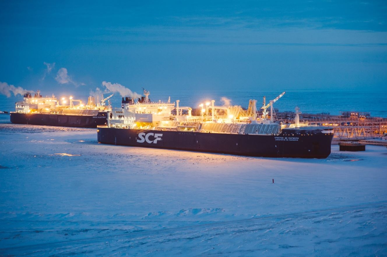 Two LNG carriers at the Yamal plant
