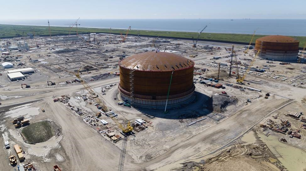 Calcasieu Pass LNG's second tank roof lifted