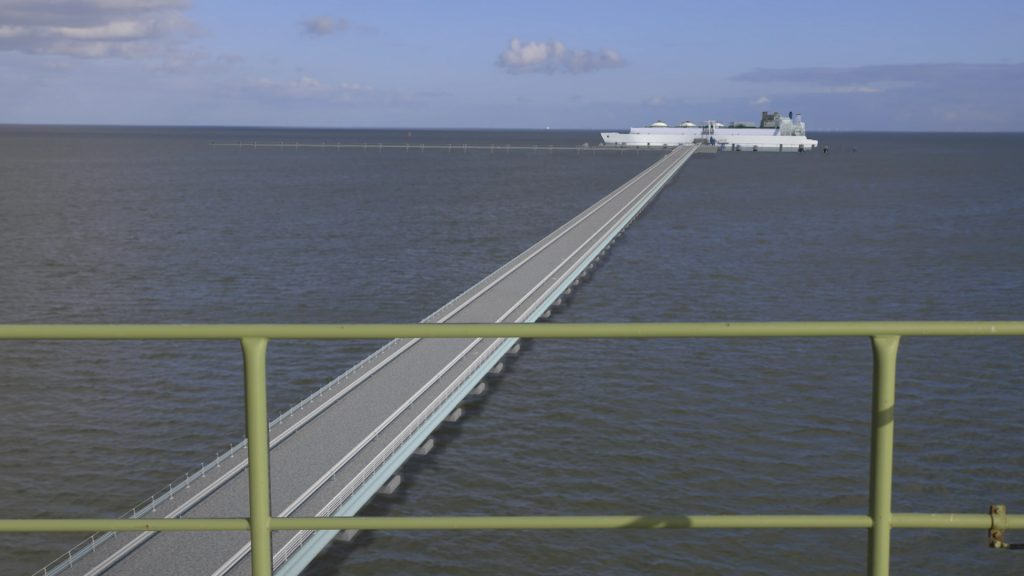 #D Rendering of the Wilhelmshaven FSRU and the connecting line.