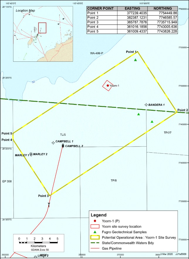 Location of Yoorn-1 well; Source: Santos