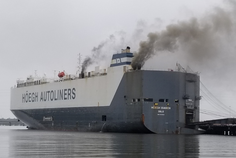 fire on vehicle carrier
