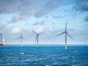 A photo of an offshore wind farm for illustration