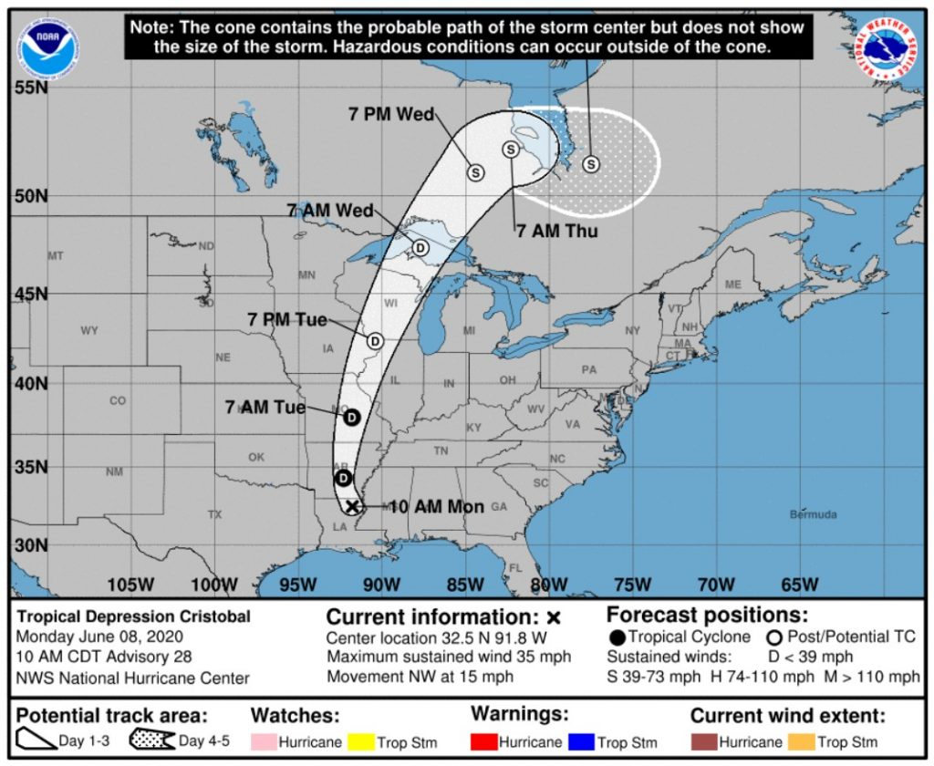 Movement of storm Cristobal; Source: NWS