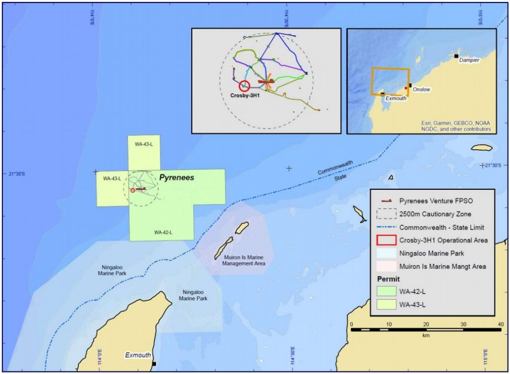 Location of Crosby-3H1 well; Source: BHP