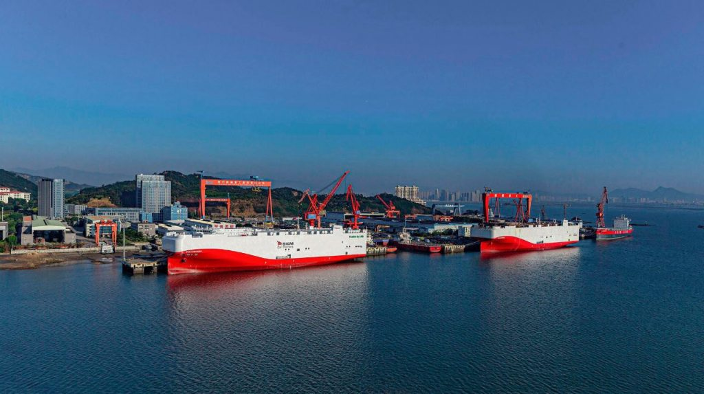 Volkswagen's two LNG-powered ships in Xiamen, China