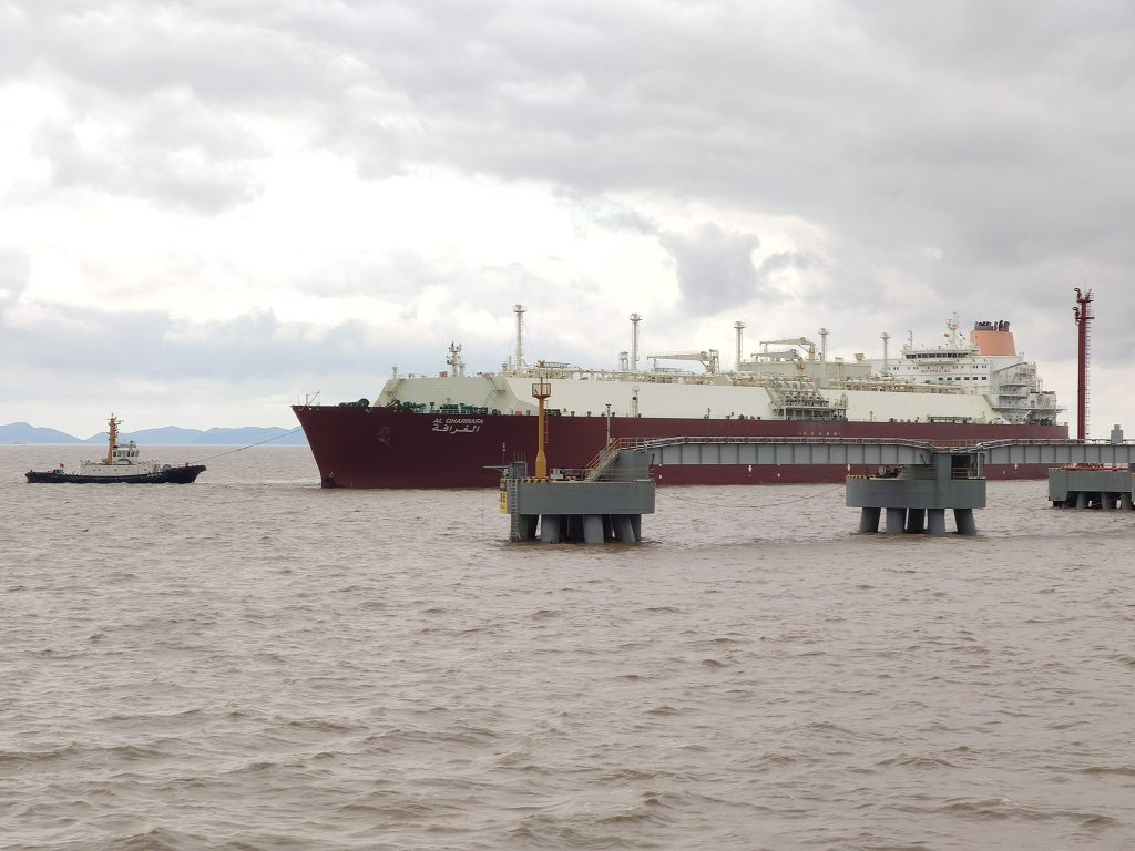 Q-Flex vessel at the ENN Zhoushan LNG terminal in China