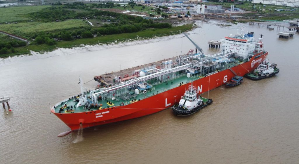 CNTIC VPower's first vessel delivering LNG to Myanmar