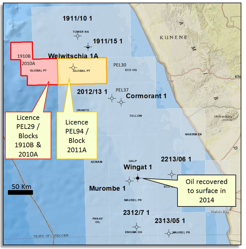 Global Petroleum's licences in Namibia