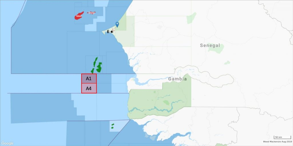 A1 and A4 licenses in Gambia; Source: PetroNor