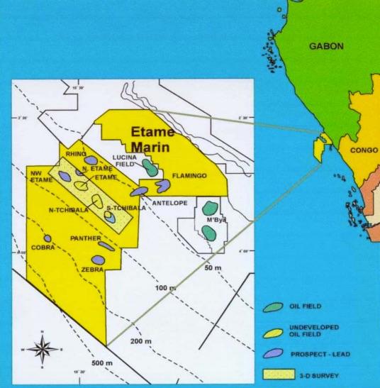 Etame Marin block map - Vaalco
