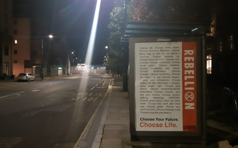 Bus stop boards; Source: Extinction Rebellion