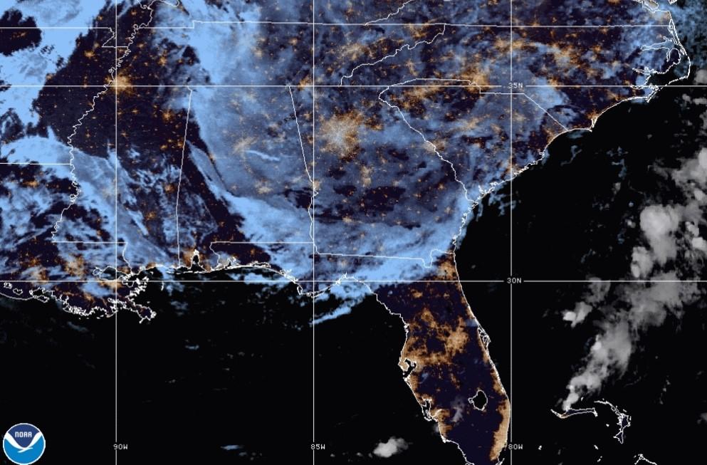 Satellite image of Hurricane Delta; Source: NOAA