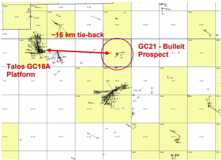 Talos Bulleit field development scenario map