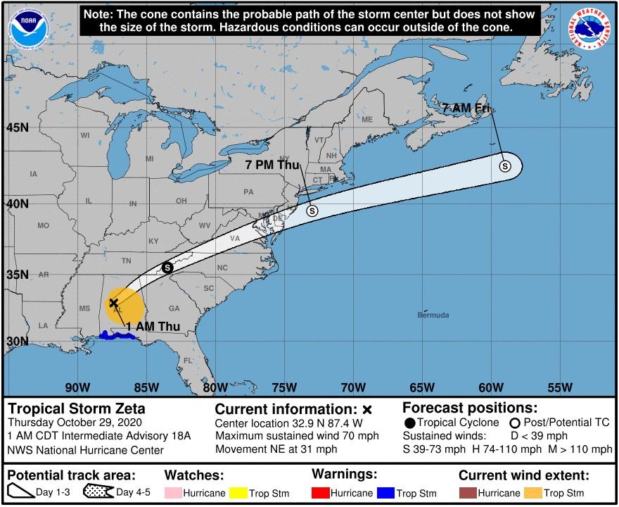 Cone of Hurricane Zeta; Source: BSEE
