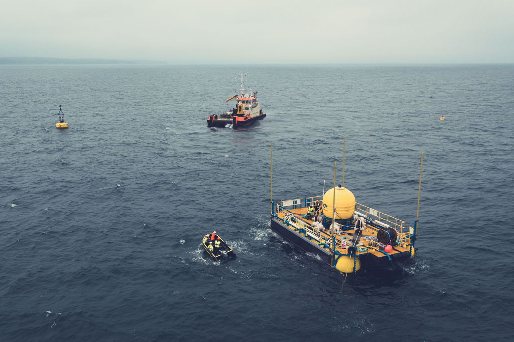 A photo of a quarter-scale WaveSub device developed by Welsh-based business Marine Power Systems (Courtesy of Marine Power Systems)