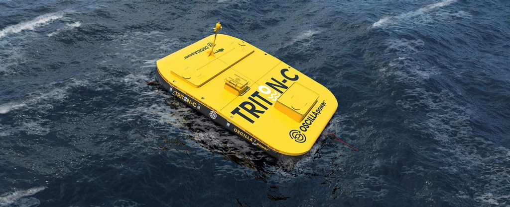 An image showing the concept for Oscilla Power's Triton wave energy device concept (Courtesy of Oscilla Power)