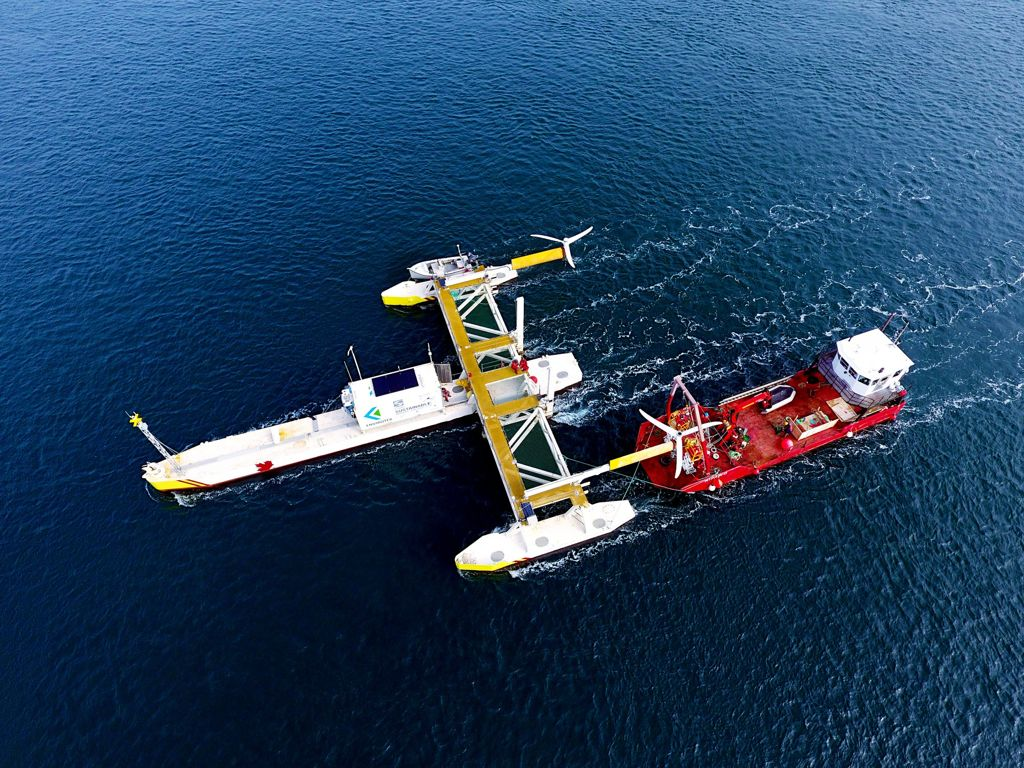 A photo of PLAT-I tidal power system in Grand Passage (Courtesy of Sustainable Marine Energy)