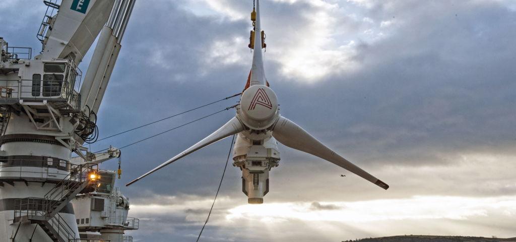 A photo of SIMEC Atlantis' AR-1500 tidal turbine (Courtesy of SIMEC Atlantis)