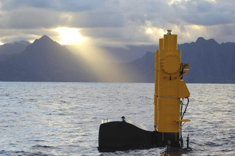 A photo illustration showing Azura wave energy device (Courtesy of DOE)
