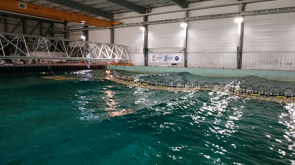 A photo of SWEL's Wave Line Magnet under tests at Centrale Nantes wave tank, managed by LHEEA (Courtesy of ©Centrale Nantes)