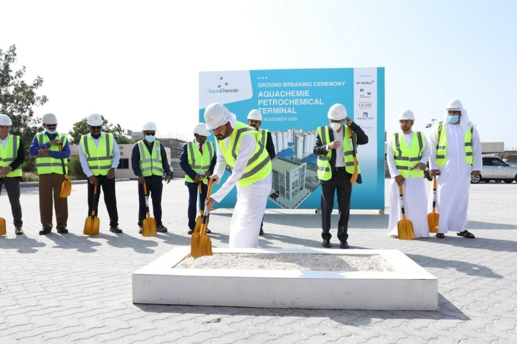 Mohammed Al Muallem, CEO & Managing Director, DP World UAE Region and CEO Jafza breaking ground for new AquaChemie terminal