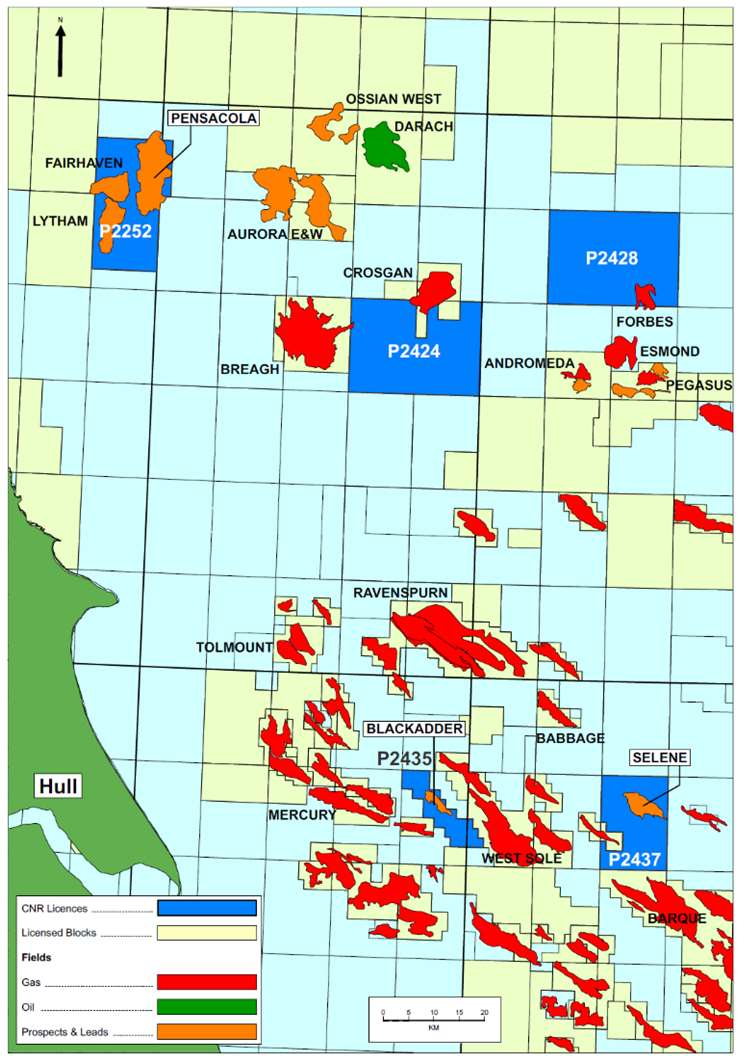 Deltic Energy's Southern North Sea assets map