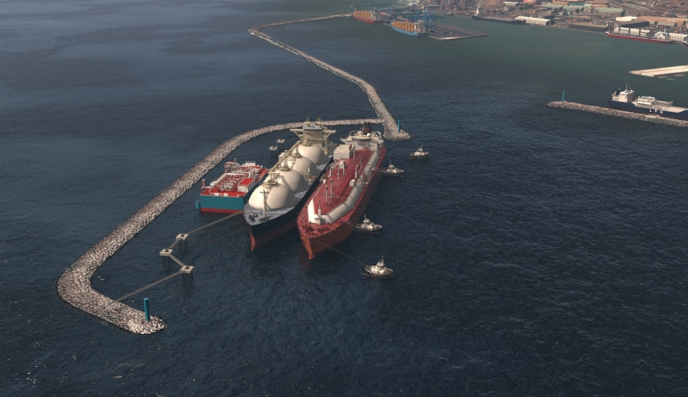 The artist rendering of the Tema LNG project