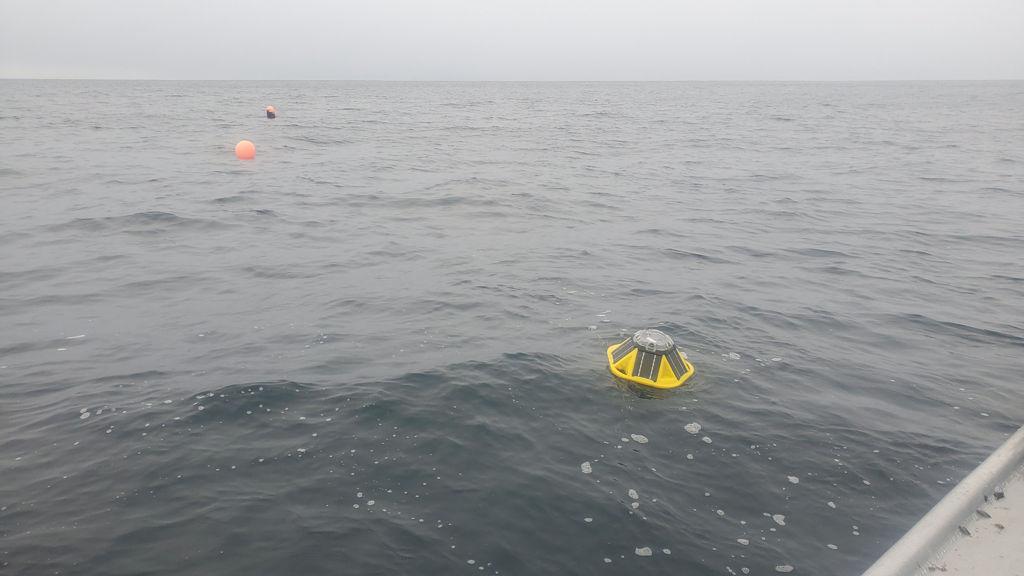 A photo of a Sofar Ocean wave buoy floats on top of the ocean waves off Cannon Beach near Yakutat (Courtesy of Stephanie Jump)