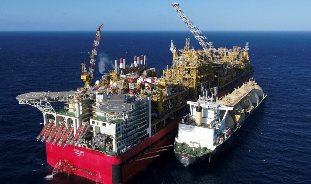LNG carrier Galina delivering initial cooldown cargo to Prelude FLNG