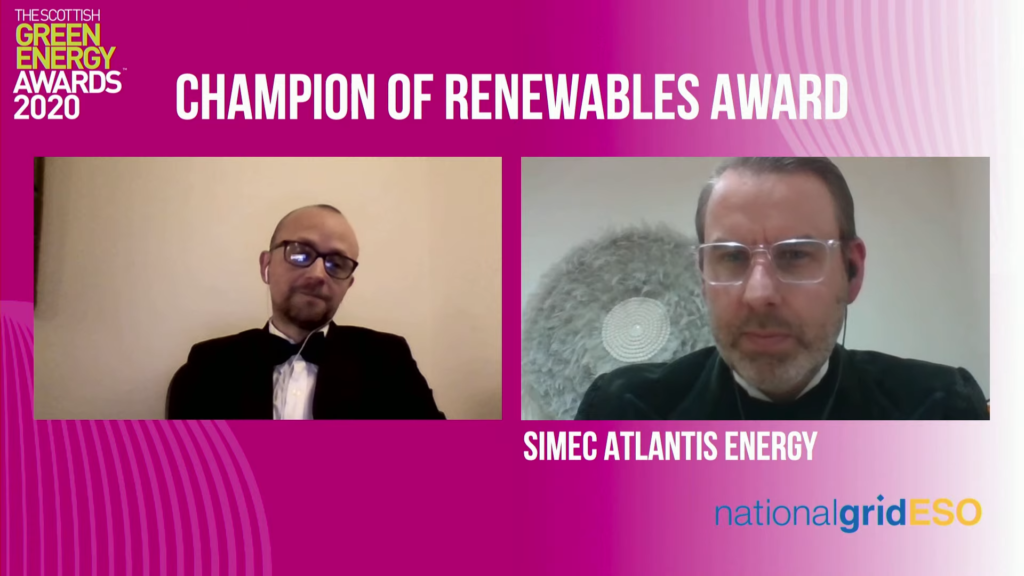A screenshot of Tim Cornelius (right) accepting the Champion of Renewables Award for SIMEC Atlantis (Courtesy of Scottish Renewables)