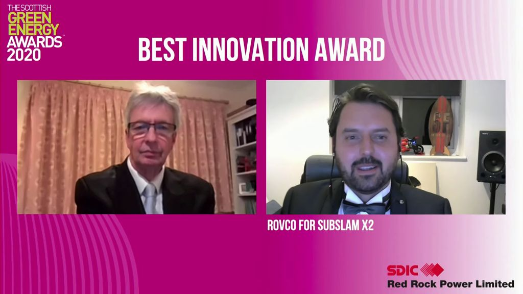 A screenshot of Rovco being announced as the winner of Best Innovation Award (Courtesy of Scottish Renewables)
