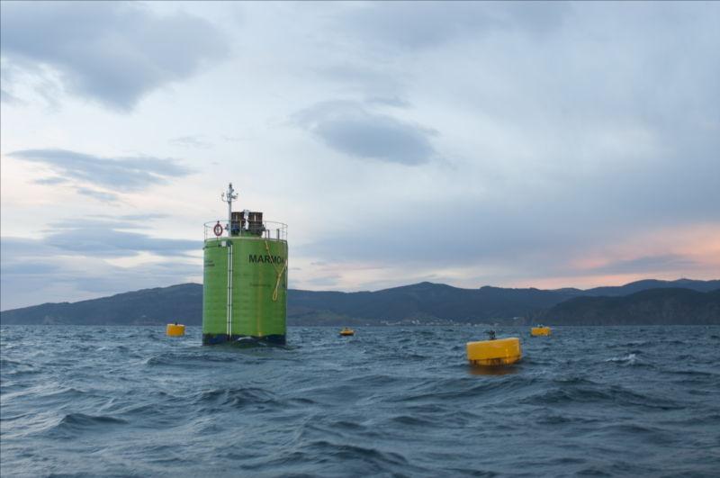 Photo Illustration of Marmok wave energy device deployed off Basque coast (Courtesy of EVE)