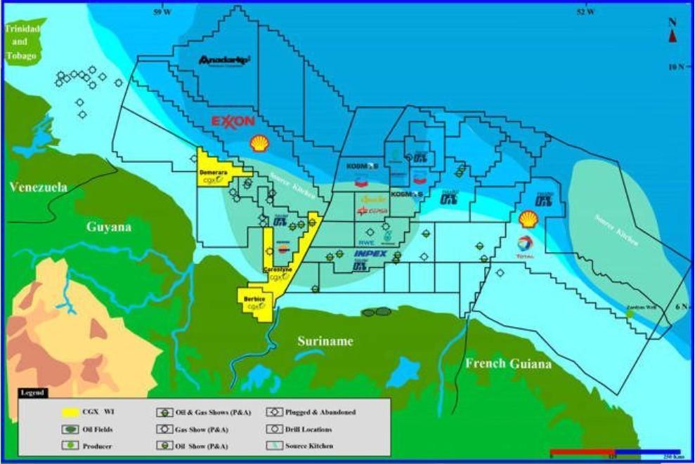 Corentyne block location; Source: CGX Frontera