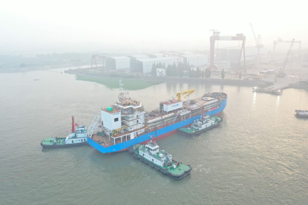 Shell will fuel BHP fleet with FueLNG Bellina seen here at her launching