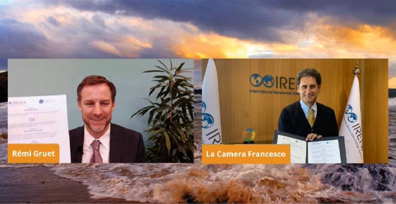 A photo of (L) Rémi Gruet, CEO of OEE, and (R) Francesco La Camera, Director-General of IRENA(Courtesy of IRENA)