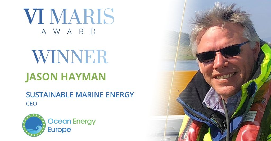 A photo of Jason Hayman, the winner of Vi Maris Award 2020 (Courtesy of Ocean Energy Europe)