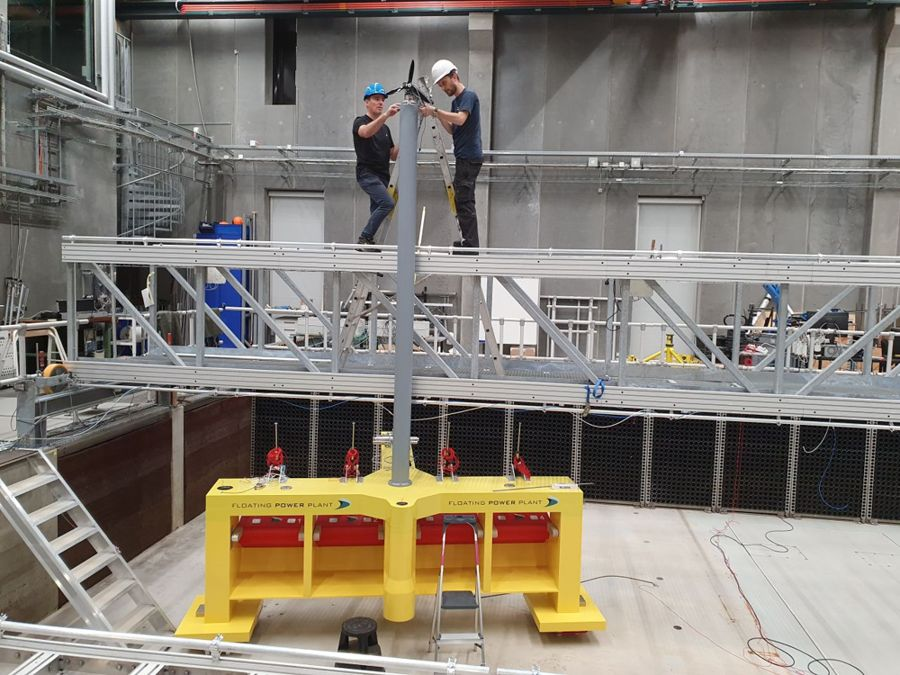 A photo of a scaled P80 platform under tests at Aalborg University (Courtesy of Floating Power Plant)